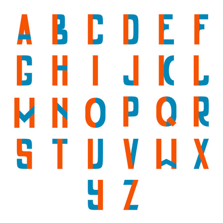 Full latin alphabet two colored clean and simple. Full set. Illustration