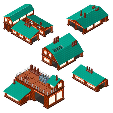 two storey house: Isometric set of factories production facility layout plan. Detailed.