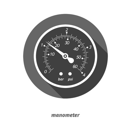 manometer: Vector illustration of flat styled manometer with drop shadow. Easy to edit clear and simple.