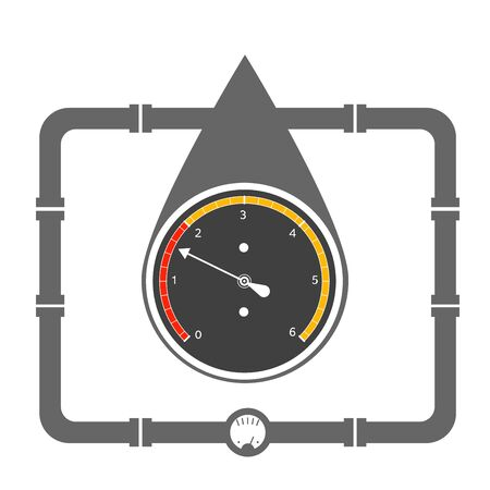 manometer: Vector illustration concept of oil drop and manometer inside it. Easy to edit clear and simple.