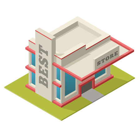 store window: Vector illustration of isometric best store building. Placed on separated island. Easy to edit clear and simple.