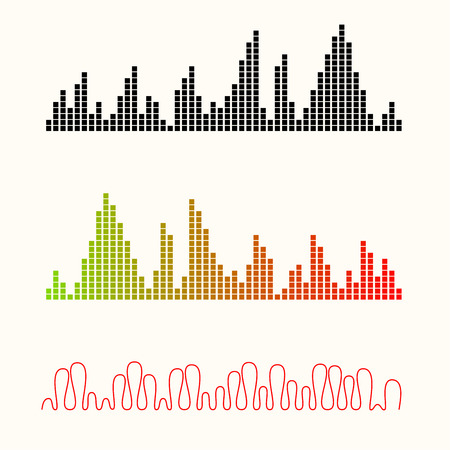 sonic: Vector illustration set of sound equalizer visualization.Easy to edit clear and simple.