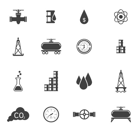 bomba de agua: Ilustración vectorial conjunto de iconos de petróleo y signos. Fácil de editar clara y sencilla. Vectores
