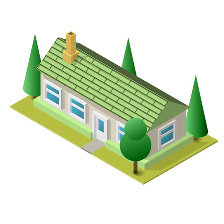 window case: Vector illustration of isometric living building. Placed on separated island. Easy to edit clear and simple. Illustration