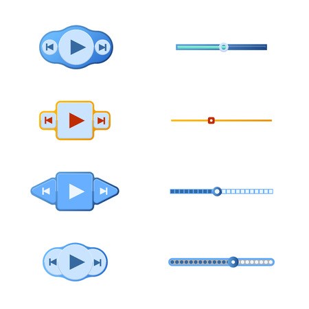 interface menu tool: Vector illustration set of media player buttons and timelines. Easy to edit clear and simple. Illustration