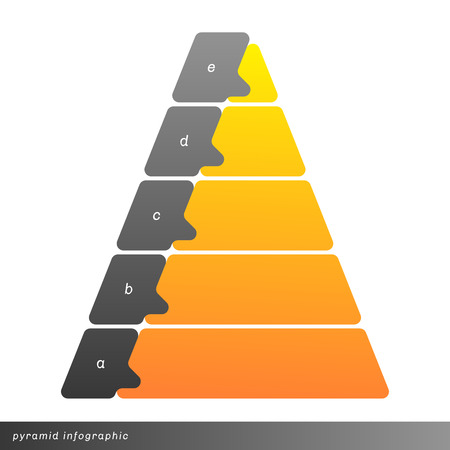 Vector pyramid infographic shows growth with gradient fill. Clear and simple template. 向量圖像