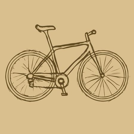 fondo cafe: Dibujado a mano de la bicicleta en el fondo marr�n. Vector imagen. Transporte ecol�gico.
