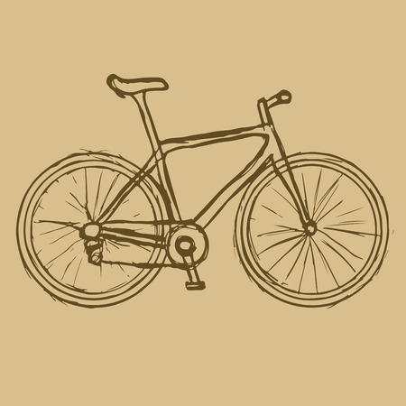 fond brun: Tir� par la main v�lo sur le fond brun. Vector image. Eco transports. Illustration