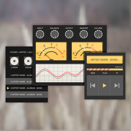 speaker icon: user interface audio template, with analog system devices and playlist, sound and music