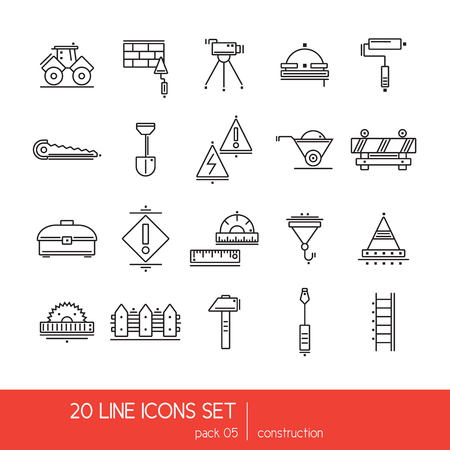 putty knife: Thin lines icon collection - construstion stuff. Tools for hard work. Line art vector.