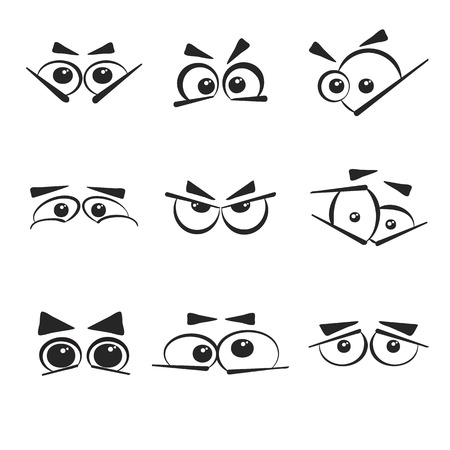 googly: Set of the different eye emotions that isolated on the white background.