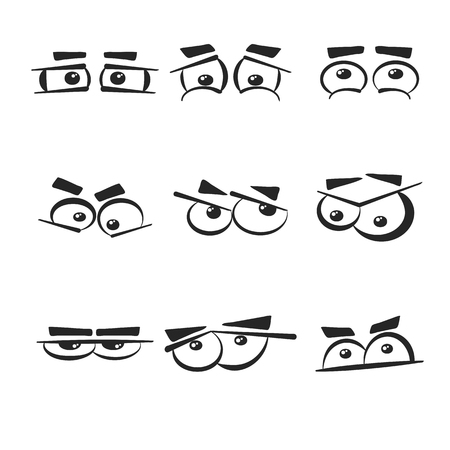 Set of different eye emotions that isolated on the white background.