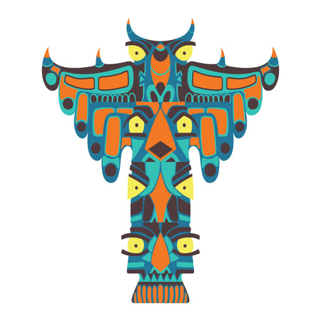 devil fish: Colorful indian totem. Vector illustration on white background. Ethnic statue