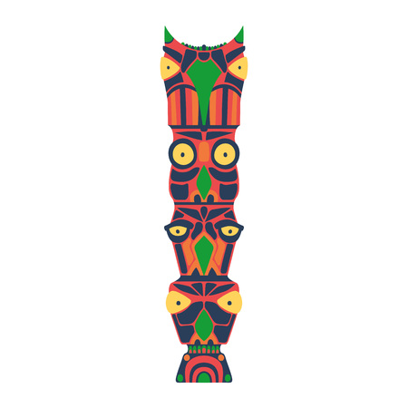 Colorful indian totem. Vector illustration on white background. Ethnic statue