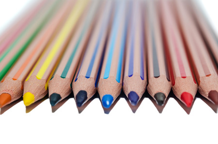 colored pencils isolated on white background, colorfull