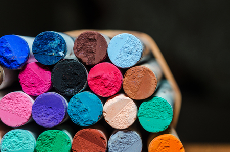 Set of different colored pastel chalk combined together. colorfull image