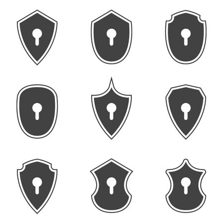 obscure: Shield icons with key holes ,vector