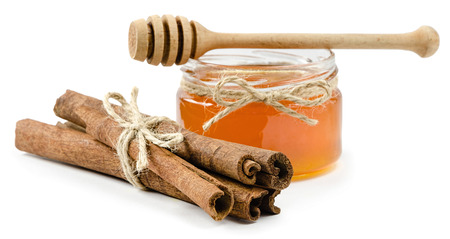 drizzler: honey pot cinnamon on an isolated white background, rope