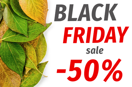 pied: Black Friday conceptp. One side frame from pied autumn leaves isolated on white background Stock Photo