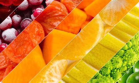 Vivid fruits and vegetables collage, blank for healthy food editions. Summer collection.
