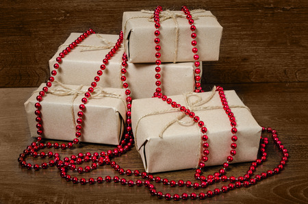 gift wrapping from Kraft paper wrapped with twine, the concept of handmade