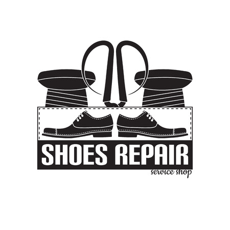 leather goods: vector image of logo of shoe repair services. Trendy concept for workshop repair or restoration of leather goods Illustration