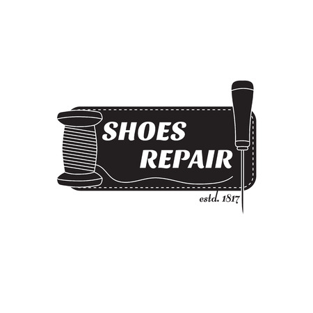 awl: vector image of logo of shoe repair services. Trendy concept for workshop repair or restoration of leather goods Illustration