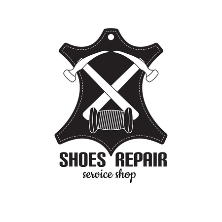 vector image of logo of shoe repair services. Trendy concept for workshop repair or restoration of leather goods Illustration