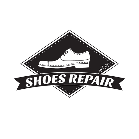Shoe repair services. Trendy concept for workshop repair or restoration of leather goods