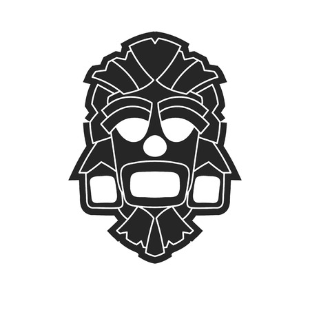 Ancient tribal mask in black and white style. Icon or logo on a white background.