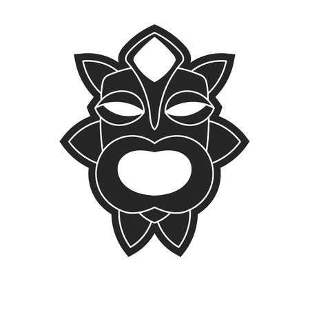 ancient tribal mask in black and white style. Icon or logo on a white background