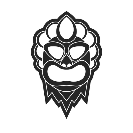 Icon or logo on a white background ancient tribal mask in black and white style.