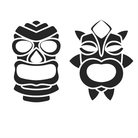Black ancient tribal mask in black and white style. Icon or logo on a white background