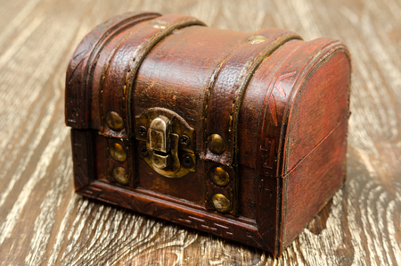 ancient shabby closed chest on wooden background