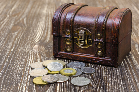 treasure chest with coins, rare finds. Concept of wealth and hunters.