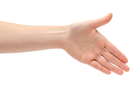 hi back: hand of young girl shows handshake. Isolated on white background