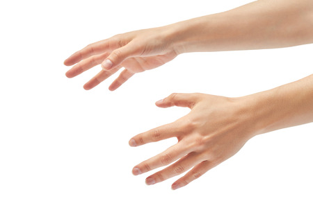 Beautiful female hand stifling gesture. Isolated on white background.