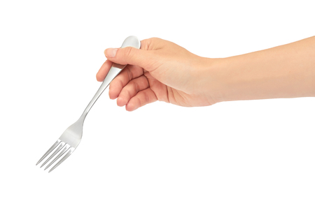 Female hands hold a fork. Isolated on white background.
