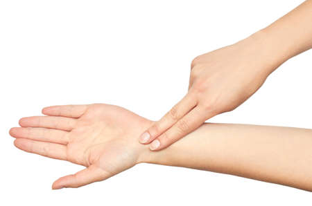 The gesture of a female hands Checks pulse with a fingers.