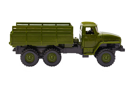 Green Military Truck toy isolated on white background.