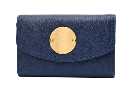 Blue clutch bag isolated on white background.