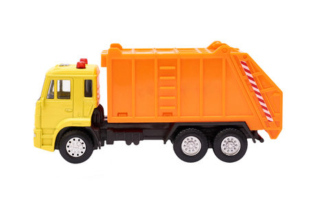 Toy Garbage Truck Isolated on white background. Stock Photo