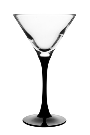 Empty martini glass isolated on white background.
