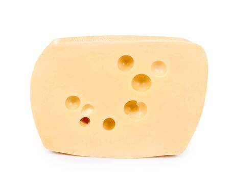 block of cheese isolated on white background.