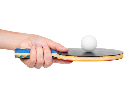 Table tennis in hand isolated on white background.