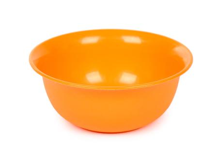 orange color plastic bowl isolated on white background.