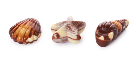 various chocolate pralines isolated on white background. Stock Photo