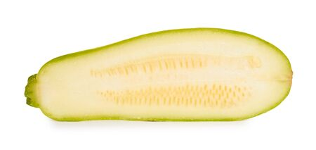 green fresh organic half of zucchini isolated on white background. Stock Photo