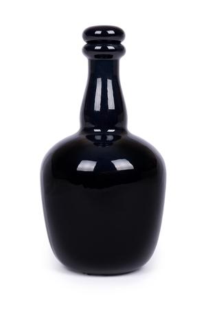 Beautiful black bottle isolated on white background.