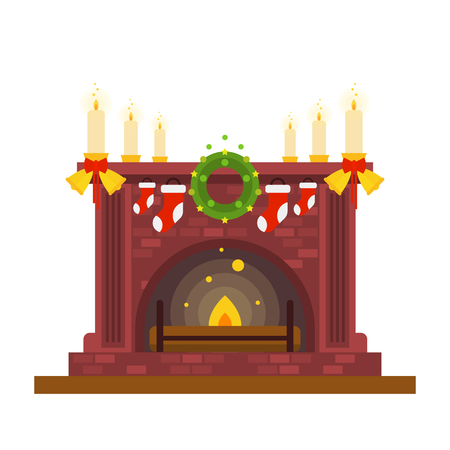 Fireplace and candles, Christmas and New Year holidays. Home comfort and coziness. Family gathering. Flat design vector illustration isolated on white background.